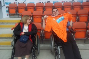 Ian and Anne at Blackpool FC with Ian's new shirt