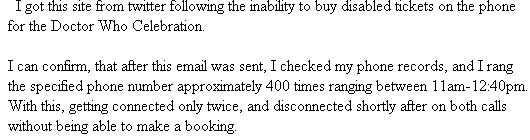 Another email from a diaabled person, about his difficulties getting through to book tickets