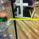 Pic of tape measure showing 56cm clearance between stands